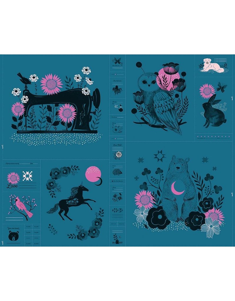 Sarah Watts Ruby Star Society, Crescent Magic Forest Panel in Teal, Fabric Half-Yards RS2001 12