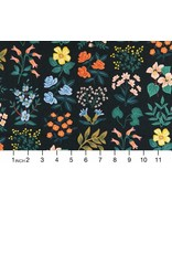 Rifle Paper Co. Linen/Cotton Canvas, Meadow, Wildflower Field in Black RP202-BK3C, Fabric Half-Yards