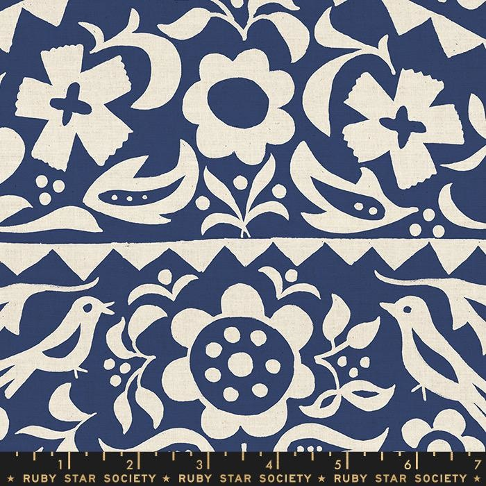 PD's Ruby Star Society Collection Ruby Star Society, Alma Market Floral in Indigo, Dinner Napkin