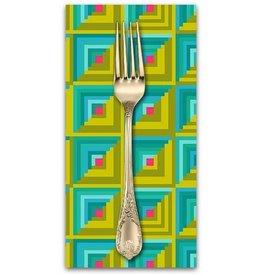 PD's Alison Glass Collection Handiwork, Patchwork in Ocean, Dinner Napkin