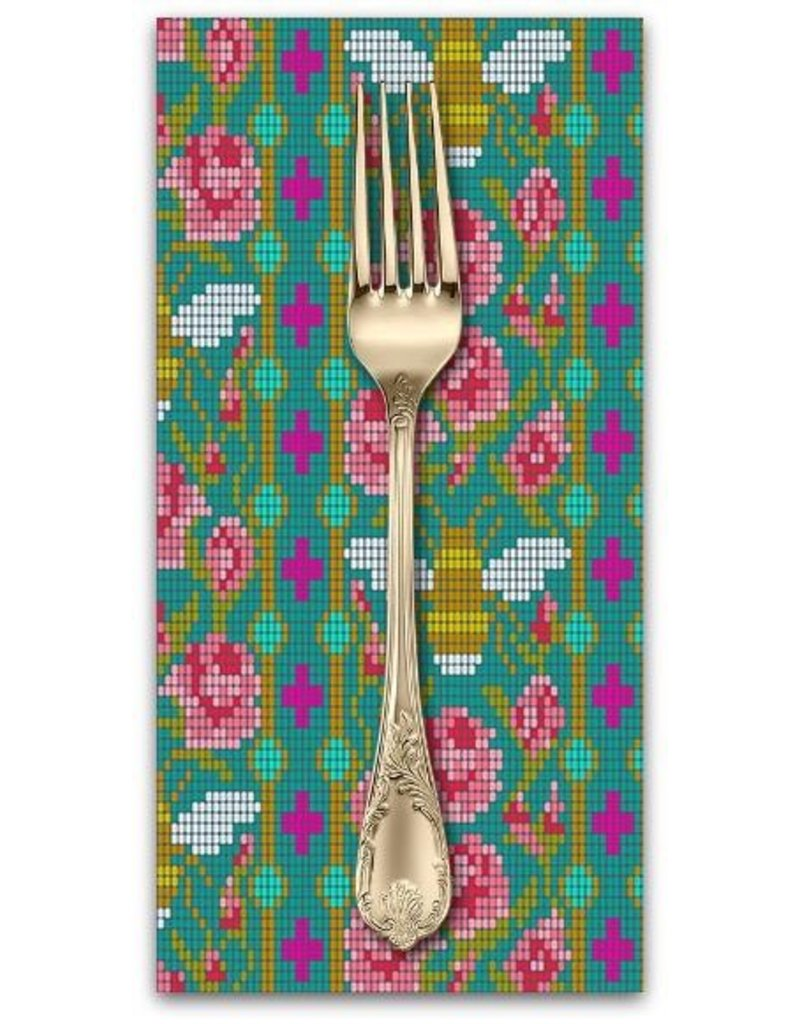 PD's Alison Glass Collection Handiwork, Beadwork in Peacock, Dinner Napkin