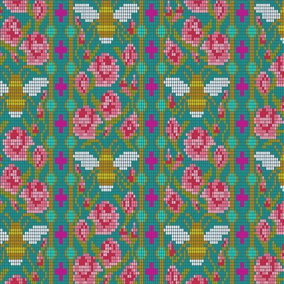 Alison Glass Handiwork, Beadwork in Peacock, Fabric Half-Yards A-9250-T