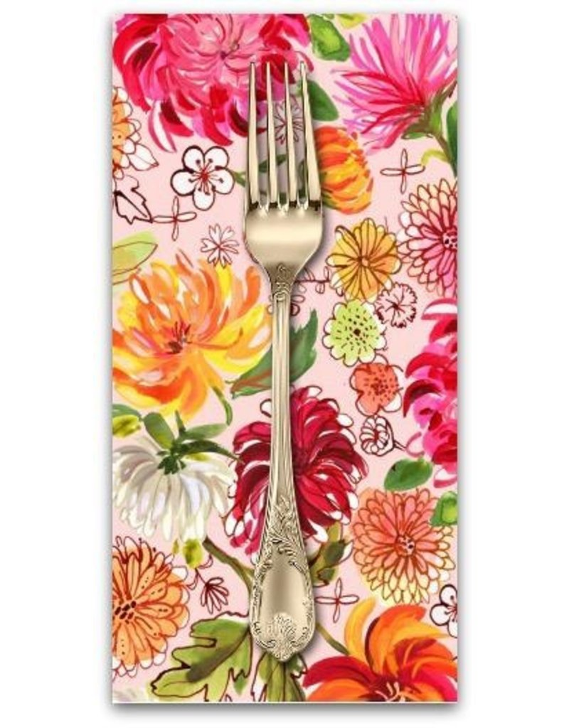 PD's August Wren Collection Tokyo Dreams, Chrysanthemums in Multi, Dinner Napkin