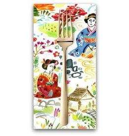PD's August Wren Collection Tokyo Dreams, Kyoto Garden in White, Dinner Napkin