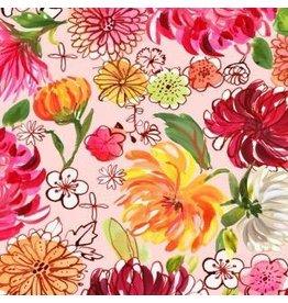 August Wren Tokyo Dreams, Chrysanthemums in Multi, Fabric Half-Yards STELLA-DAW1390