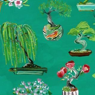 August Wren Tokyo Dreams, Bonsai in Multi, Fabric Half-Yards STELLA-DAW1395