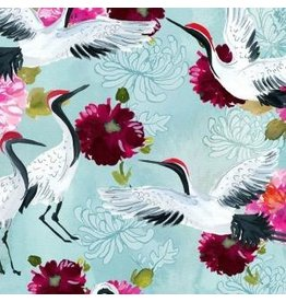 August Wren Tokyo Dreams, Cranes in Multi, Fabric Half-Yards STELLA-DAW1394