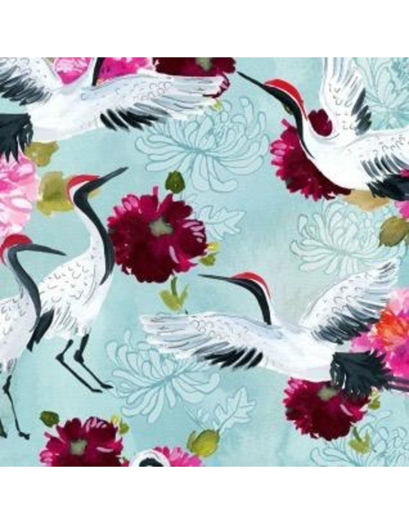 "August Wren Tokyo Dreams, Cranes in Multi, Fabric STELLA-DAW1394  ONE 32"" CUT REMAINING"