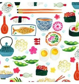 August Wren Tokyo Dreams, Sushi in White, Fabric Half-Yards STELLA-DAW1391