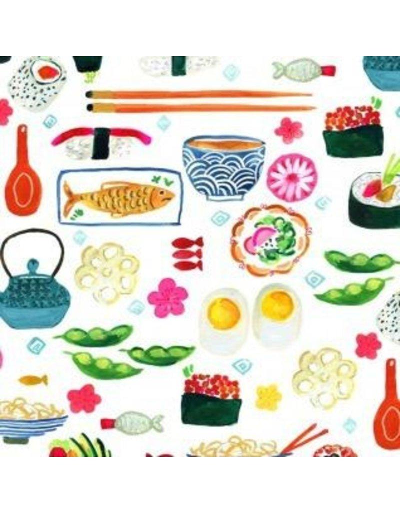 August Wren Tokyo Dreams, Sushi in White, Fabric Half-Yards STELLA-DAW1391