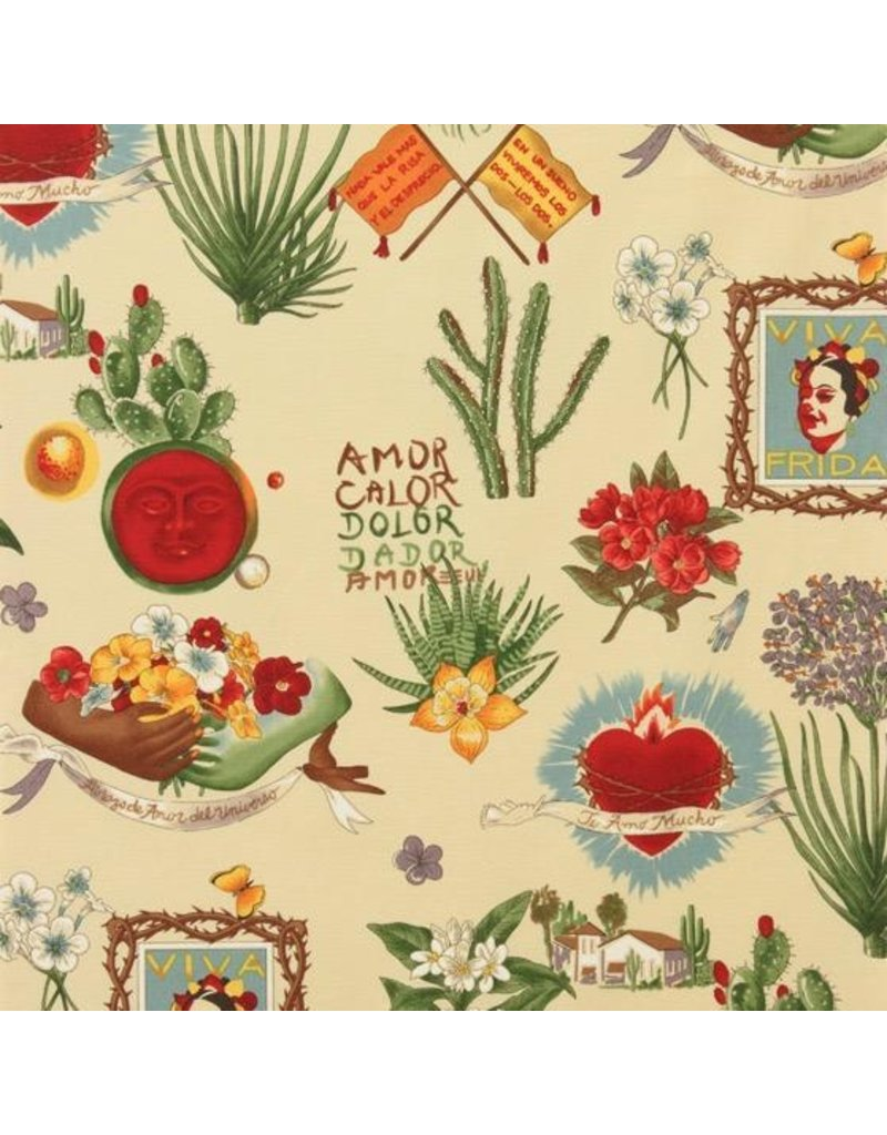 Alexander Henry Fabrics Folklorico, Viva Frida in Parchment, Fabric Half-Yards 1406A