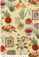 Alexander Henry Fabrics Folklorico, Viva Frida in Parchment, Fabric Half-Yards 1406A