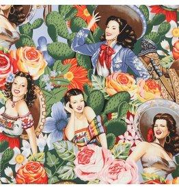Alexander Henry Fabrics Folklorico, Las Senoritas in Bright, Fabric Half-Yards 6542A