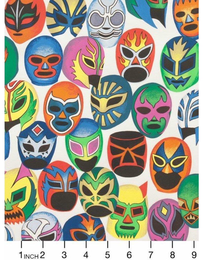 Alexander Henry Fabrics Folklorico, Mascaras de Pelea in Natura, Fabric Half-Yards 7812AB