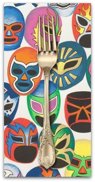 PD's Alexander Henry Collection Folklorico, Mascaras de Pelea in Natural, Dinner Napkin