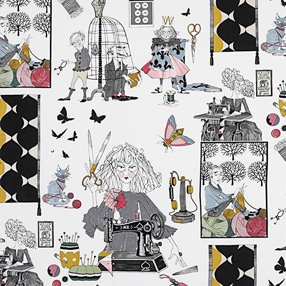 Alexander Henry Fabrics The Ghastlies, A Ghastlie Craft with Cats in Natural, Fabric Half-Yards 8714A