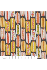 Alexander Henry Fabrics Boardwalk, Hot Dog! in Graphite Fabric Half-Yards 8692B