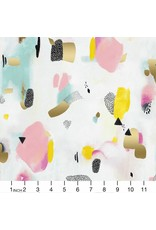 PD's Cotton + Steel Collection Girls Club, Pastel Parade in Pink with Metallic, Dinner Napkin