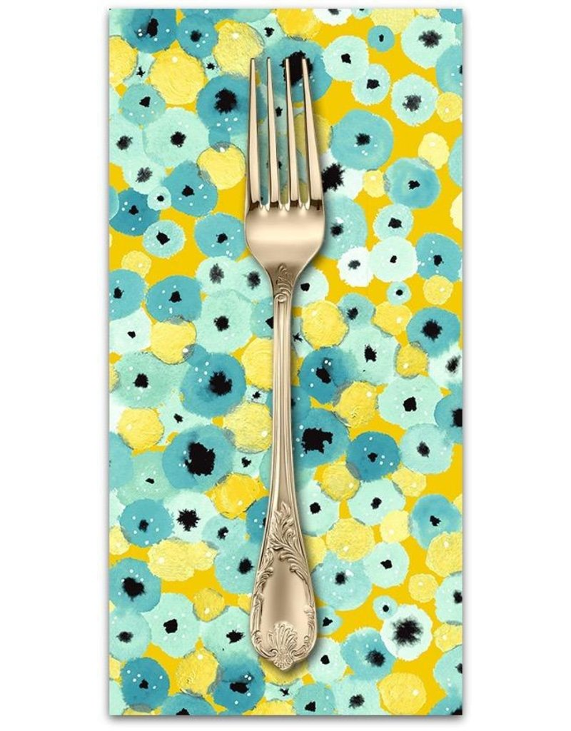 PD's Cotton + Steel Collection Girls Club, Flower Fountain in Yellow, Dinner Napkin