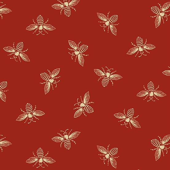 Andover Fabrics Beehive, Bees in Red, Fabric Half-Yards A-9084-R