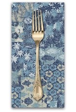 PD's Sevenberry Collection Island Paradise, Ocean Fish in Blue, Dinner Napkin