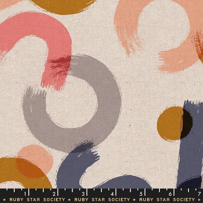 Ruby Star Society for Moda Cotton Linen Canvas, Ruby Star Society 2019, Brushwork in Blush, Fabric Half-Yards RS5023 12L