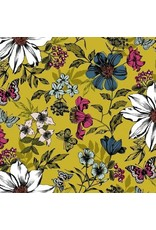 Andover Fabrics ON SALE-Dream, Botanica Large Floral in Golden Yellow, Fabric Half-Yards