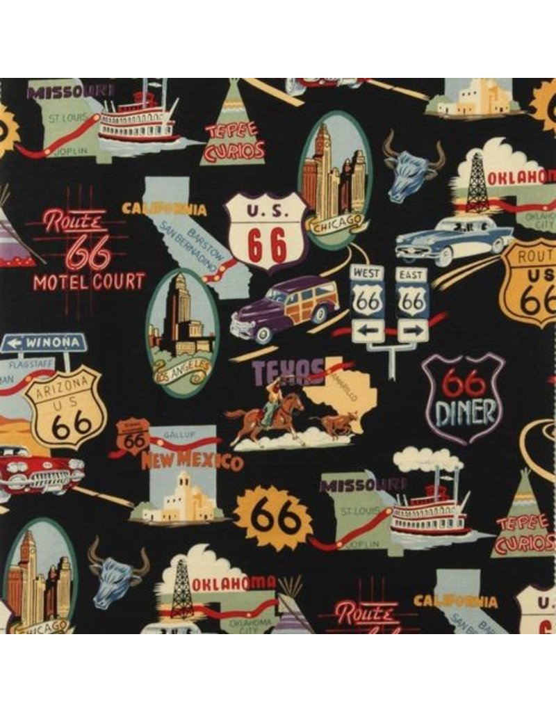 Alexander Henry Fabrics Nicole's Prints, Route 66 in Black, Fabric Half-Yards 1585CR