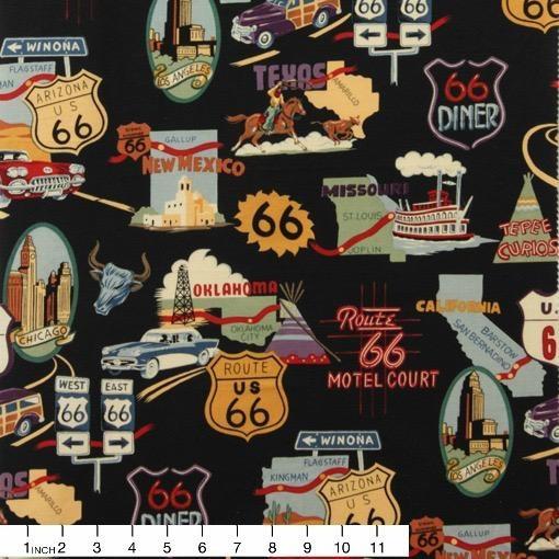 Alexander Henry Fabrics Nicole's Prints, Route 66 in Black, Fabric Half-Yards 1585CR