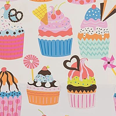 Alexander Henry Fabrics Boardwalk, Frosted Cupcakes in Natural, Fabric Half-Yards 8774A