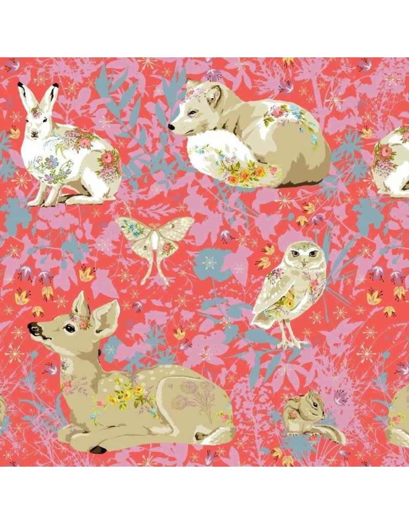 "Free Spirit Land Art, Mini Enchanted Forest in Rose, Fabric  PWOB025 30"" cut remaining"