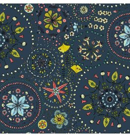 Free Spirit Land Art, Fairy Circles in Navy, Fabric Half-Yards PWOB019