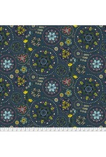Free Spirit Land Art, Fairy Circles in Navy, Fabric Half-Yards PWOB019