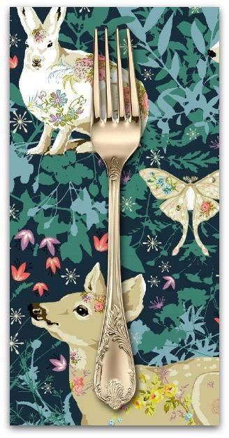 PD'S Free Spirit Collection Land Art, Mini Enchanted Forest in Navy, Dinner Napkin
