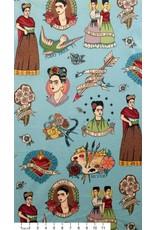Alexander Henry Fabrics Folklorico, Todo Para Ti Frida in Turquoise, Fabric Half-Yards 8307B