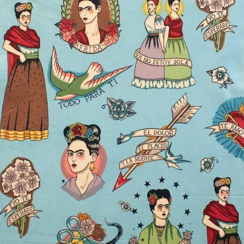 PD's Alexander Henry Collection Folklorico, Todo Para Ti Frida in Turquoise, Dinner Napkin