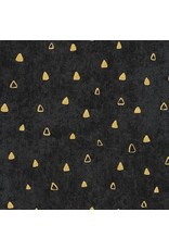 Robert Kaufman Gustav Klimt, Gold Triangles in Black, Fabric Half-Yards SRKM-17182-2