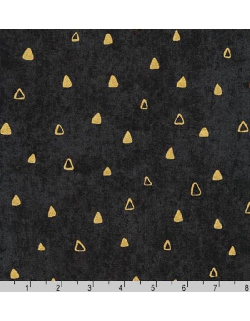 Robert Kaufman Gustav Klimt, Gold Triangles in Black, Fabric Half-Yards SRKM-17182-2