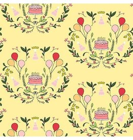 Michael Miller Celebrate, Cake Mirror in Lemon, Fabric Half-Yards DH8791