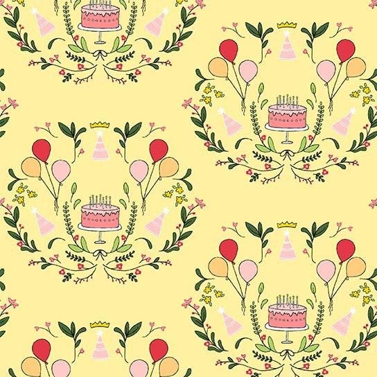Michael Miller Celebrate, Cake Mirror in Lemon, Fabric Half-Yards DH8791