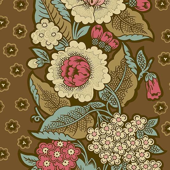 Andover Fabrics Chesapeake, Bouquet in Dark Khaki, Fabric Half-Yards A-9323-N