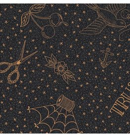Libs Elliott Almost Blue, Draw in Asphalt with Metallic, Fabric Half-Yards A-9348-MO