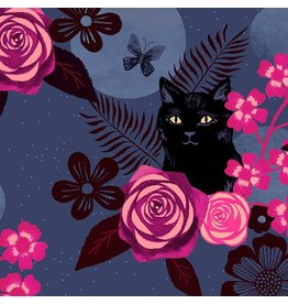 Ruby Star Society for Moda Rayon, Ruby Star Society, Magic Cat in Midnight, Fabric Half-Yards