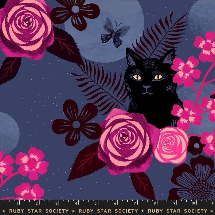 Ruby Star Society for Moda Rayon, Ruby Star Society, Magic Cat in Midnight, Fabric Half-Yards