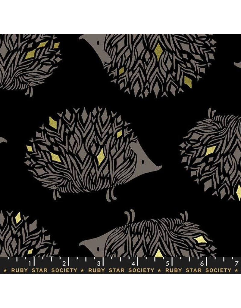 Ruby Star Society for Moda Ruby Star Society Darlings, Pickles in Black with Metallic, Fabric Half-Yards RS5017 13M