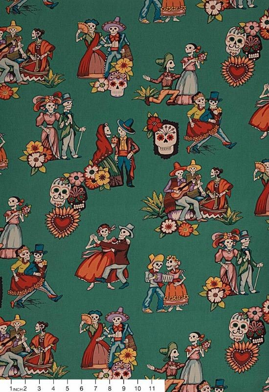 Alexander Henry Fabrics Canvas, Folklorico La Media Vuelta in Peacock, Fabric Half-Yards H8796CR