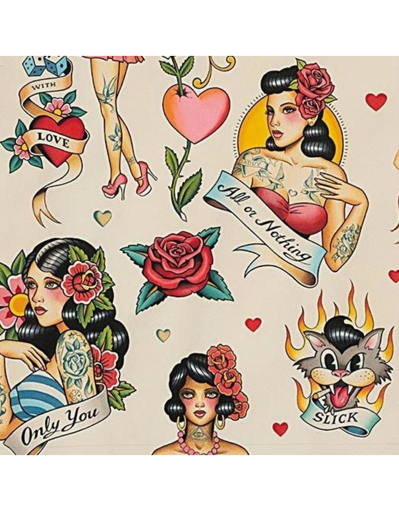 PD's Alexander Henry Collection Nicole's Prints, Don't Gamble with Love in Antique, Dinner Napkin
