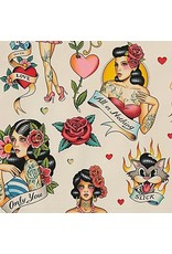 Alexander Henry Fabrics Nicole's Prints, Don't Gamble with Love in Antique, Fabric Half-Yards 8781C