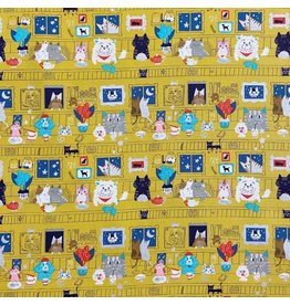 Japan Import Canvas, Kokka Japan, Cats and Dogs on Mustard, Fabric Half-Yards LO-46000-1-B