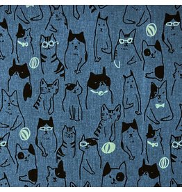 Japan Import Linen/Cotton Canvas, Cosmo Japan, Cats Wearing Glasses in Blue, Fabric Half-Yards AP-01712-1-C